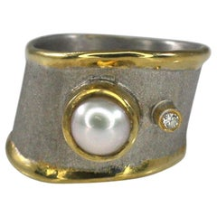 Yianni Creations Fine Silver Artisan Ring with Pearl Diamond and 24 Karat Gold
