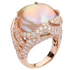Yoko London Freshwater Baroque Pearl and Diamond Ring in 18 Karat Rose Gold