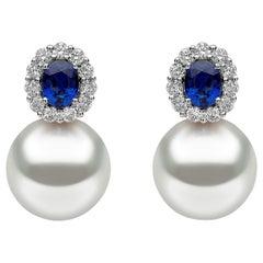 Yoko London South Sea Pearl, Sapphire and Diamond Earrings in 18 Karat Gold