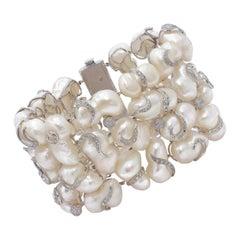 Yvel Pearl and 5 Carat Diamonds Bracelet