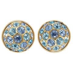 Yves Saint Laurent 1980s Gold Earrings With Blue Crystal Rhinestones