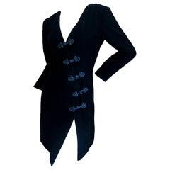 Yves Saint Laurent 70's Rive Gauche Velvet Dress w Diagonal Frog Closure
