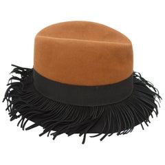 Yves Saint Laurent Brown & Black Felt Hat