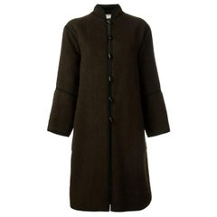 Yves Saint Laurent Brown Wool Russian Coat, 1970s