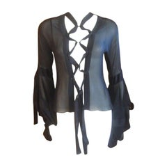 Yves Saint Laurent by Tom Ford August 2002 Sheer Silk Lace Up Pirate Top