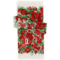 YVES SAINT LAURENT c.1980s Floral Peony & Rose Garden Silk Chiffon Scarf