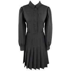YVES SAINT LAURENT EDITION 24 Size 12 Black Wool Pleated Blouse Dress