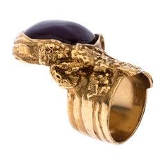Yves Saint Laurent Purple Cabochon Arty Gold Tone Ring Size 57