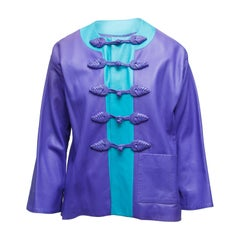 Yves Saint Laurent Purple & Cerulean Fall/Winter 1993 Leather Jacket