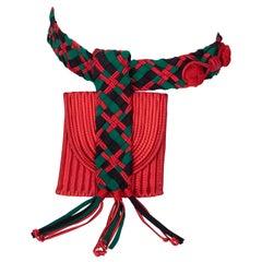 Yves Saint Laurent Red Green Passementerie Tassel Belt Bag YSL, 1990s