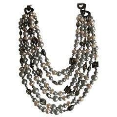 Yves Saint Laurent Rive Gauche 1970's Vintage Multi Strand Gray Pearl Necklace