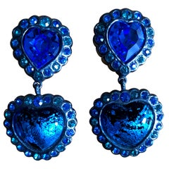 Yves Saint Laurent Rive Gauche Large Heart Clip Earrings with Drop
