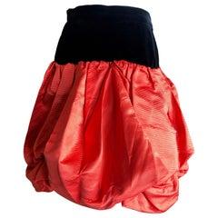 Yves Saint Laurent Rive Gauche Vintage 70's Orange Silk and Velvet Pouf Skirt