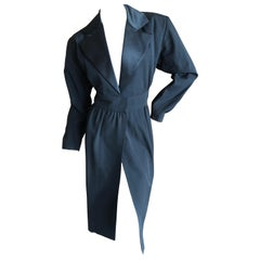 Yves Saint Laurent Rive Gauche Vintage 80's Le Smoking Satin Lapel Tuxedo Dress