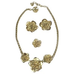 Yves Saint Laurent Set : Necklace, Brooch And Clip-on Earrings