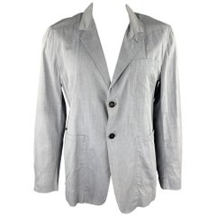 YVES SAINT LAURENT Size 44 Grey Window Pane Cotton Light Weight Sport Coat