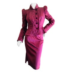 Yves Saint Laurent Tom Ford Fall 2004 Burgundy Silk Pagoda Shoulder Skirt Suit
