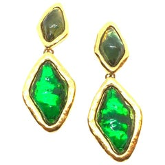 YVES SAINT LAURENT Vintage Green Clip-on Earrings