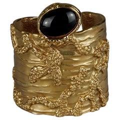 Yves Saint Laurent YSL Arty Black Cabochon Textured Wide Cuff Bracelet