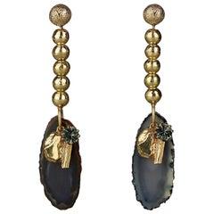 YVES SAINT LAURENT YSL Chyc Agate Drop Earrings