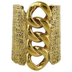 Yves Saint Laurent YSL Massive Gold Toned Chain Cuff Bracelet