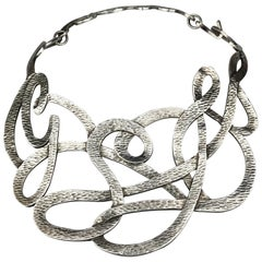YVES SAINT LAURENT Ysl Stylized Initial Silver Textured Rigid Choker Necklace