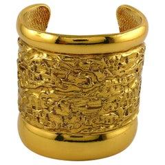 Yves Saint Laurent YSL Vintage Gold Toned Lava Textured Wide Cuff Bracelet