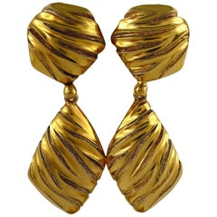 Yves Saint Laurent YSL Vintage Gold Toned Ribbed Dangling Earrings