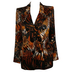 Yves Saint Laurent YSL Vintage Iconic Double-Breasted Leopard Tiger Print Jacket