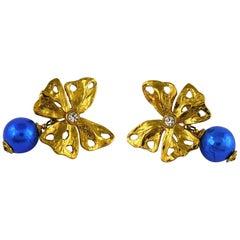 Yves Saint Laurent YSL Vintage Jewelled Butterfly Dangling Earrings
