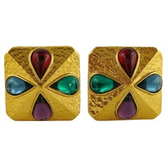 Yves Saint Laurent YSL Vintage Multi Colored Cabochon Clip-On Earrings