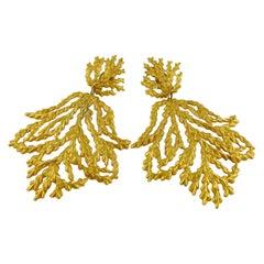 Yves Saint Laurent YSL Vintage Oversized Gold Toned Foliage Dangling Earrings