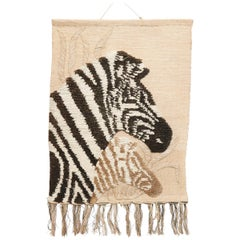 Zebra Tapestry Rattan and Wool, circa 1980