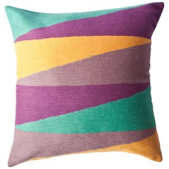 Zimbabwe Landscape Summer Hand Embroidered Modern Geometric Throw Pillow Cover