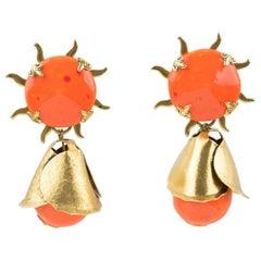 Zoe Coste Reminiscence Orange Ceramic Clip Earrings