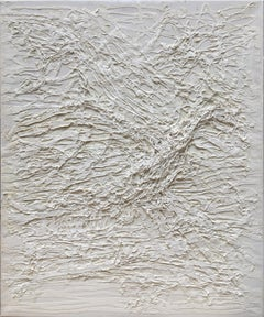 Untitled 01 - Contemporary, Abstract Painting, White, Monochrome, Organic