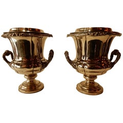 1900 Pair of Silver Metal Refreshers in the Style of Napoleon 3