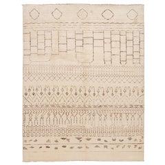 21st-Century Modern Beige Moroccan-Style Tribal Wool Rug