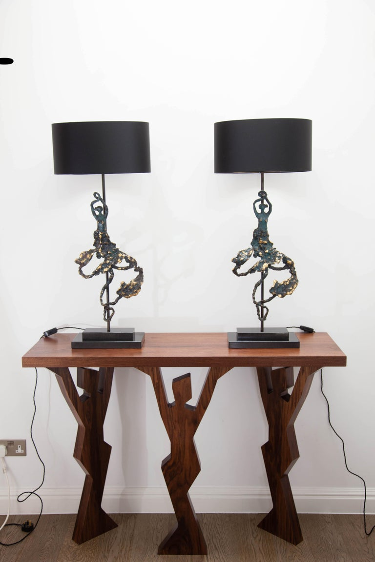 Modern 'Andalucia' Pair of Bronze Table Lamps on Black Marble Base For Sale