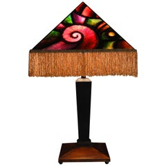 Art Donovan / Geometric Deco Table Lamp, Hand Painted