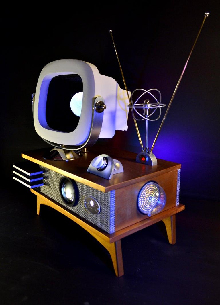 American Art Donovan / Kinetic, Illuminated, Moon TV Sculpture, Midcentury/Atomic Age For Sale