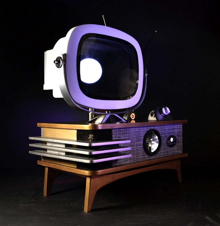 Hand-Crafted Art Donovan / Kinetic, Illuminated, Moon TV Sculpture, Midcentury/Atomic Age For Sale