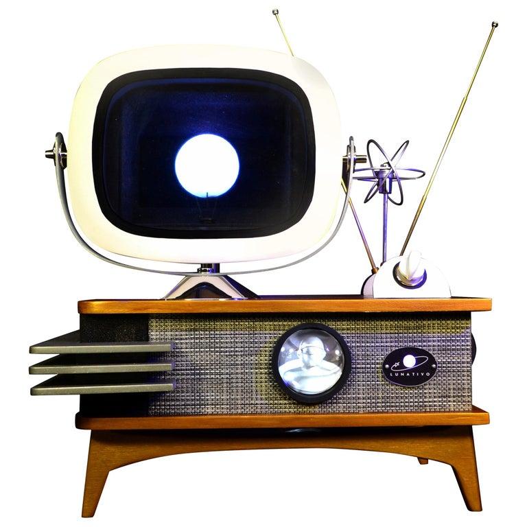 Art Donovan / Kinetic, Illuminated, Moon TV Sculpture, Midcentury/Atomic Age For Sale