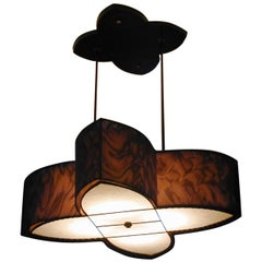 "Art Donovan / ""Lotus"" Handmade, Double Shade, Pendant Lamp"