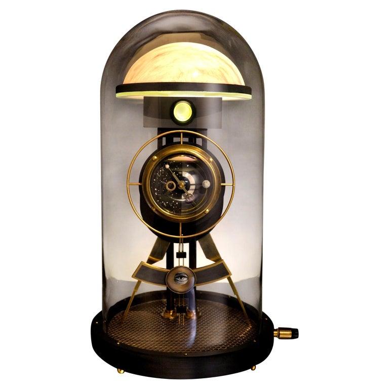 "Art Donovan or ""Moon Clock"" Illuminated Sculpture, Glass, Brass, Maple For Sale"