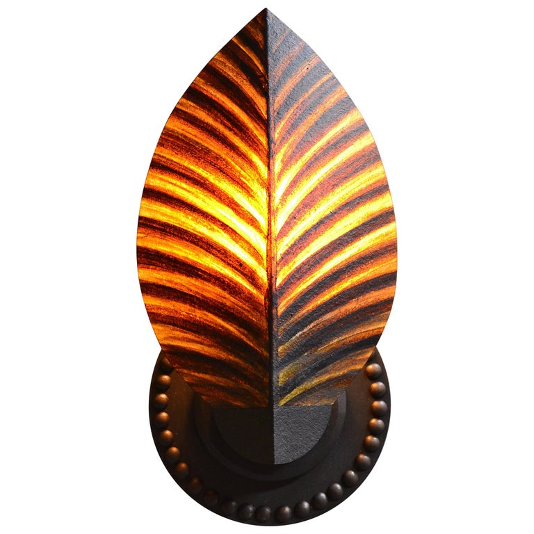 "Art Donovan ""Petite Sufi"" Wall Lamp, Hand Painted in Solid Maple (PAIR) 1"