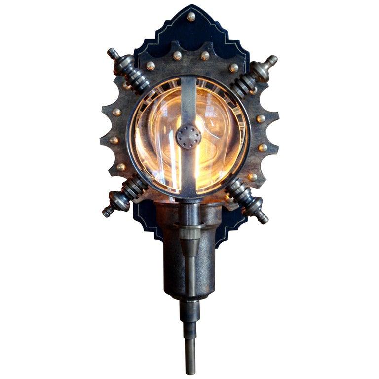 "Art Donovan / Steampunk Wall Lamp ""Parrish Carriage #2"" 1"