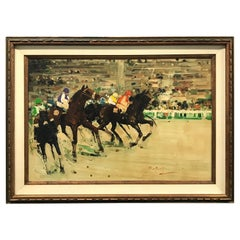 """"""" At The Races """" Original Oil Painting"""