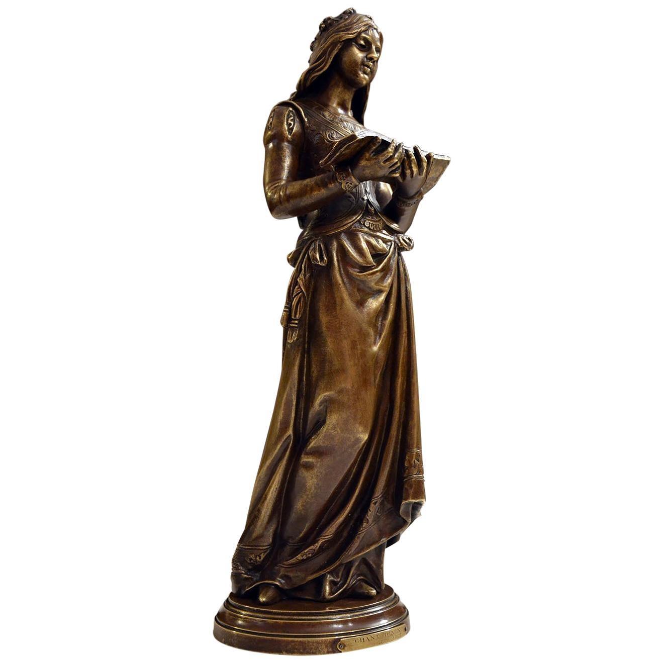 """Chant Divin"" by Marcel Debut 19th Century Bronze Sculpture"