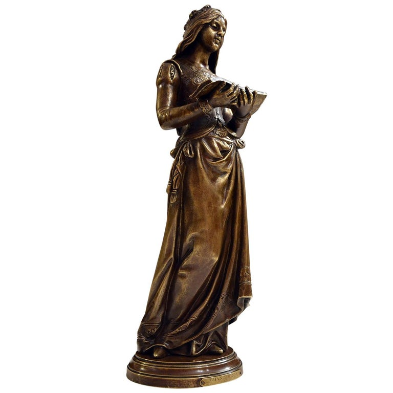 """""""Chant Divin"""" by Marcel Debut 19th Century Bronze Sculpture For Sale"""